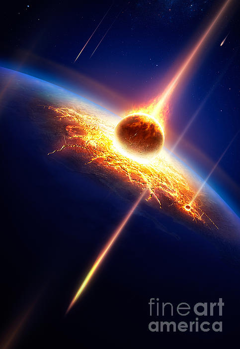 Earth In A  Meteor Shower Print by Johan Swanepoel