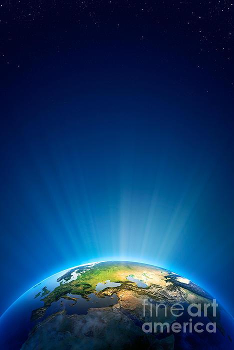 Earth Radiant Light Series - Europe Print by Johan Swanepoel
