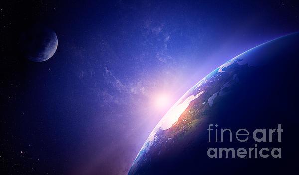 Earth Sunrise In Foggy Space Print by Johan Swanepoel