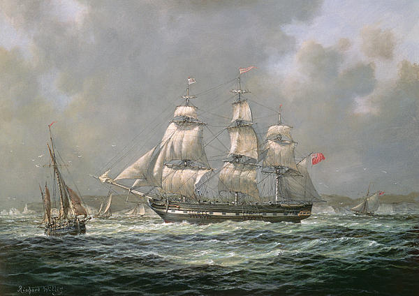 East Indiaman Hcs Thomas Coutts Off The Needles     Isle Of Wight Print by Richard Willis