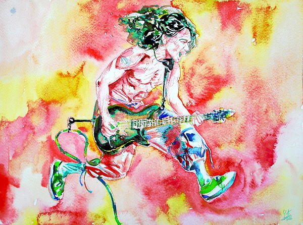 Eddie Van Halen Playing And Jumping Watercolor Portrait Print by Fabrizio Cassetta