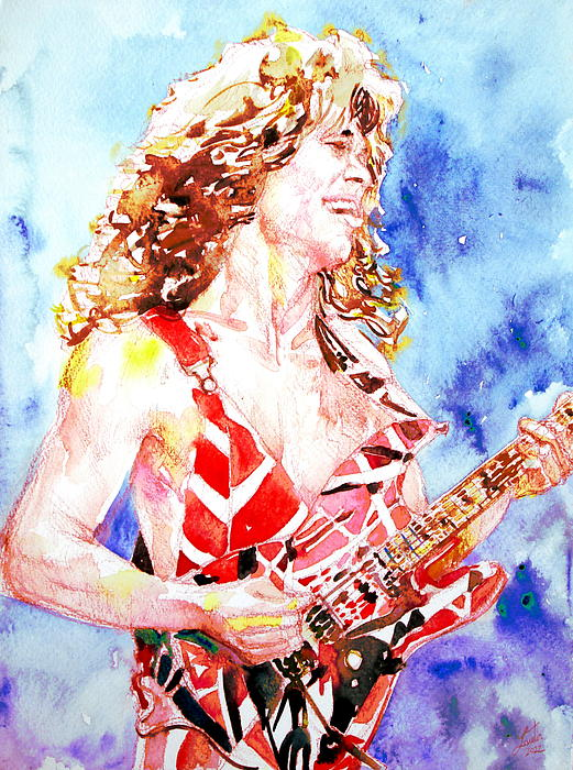 Eddie Van Halen Playing The Guitar.2 Watercolor Portrait Print by Fabrizio Cassetta