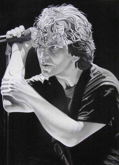 Eddie Vedder Black And White Print by Joshua Morton