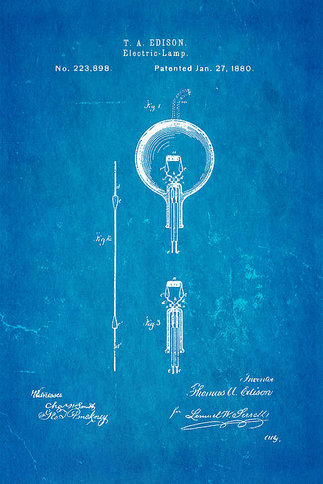 Edison Electric Lamp Patent Art 1880 Blueprint Print by Ian Monk