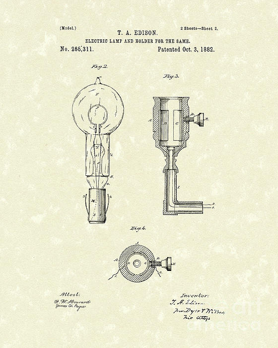 Edison Lamp 1882 Patent Art Print by Prior Art Design