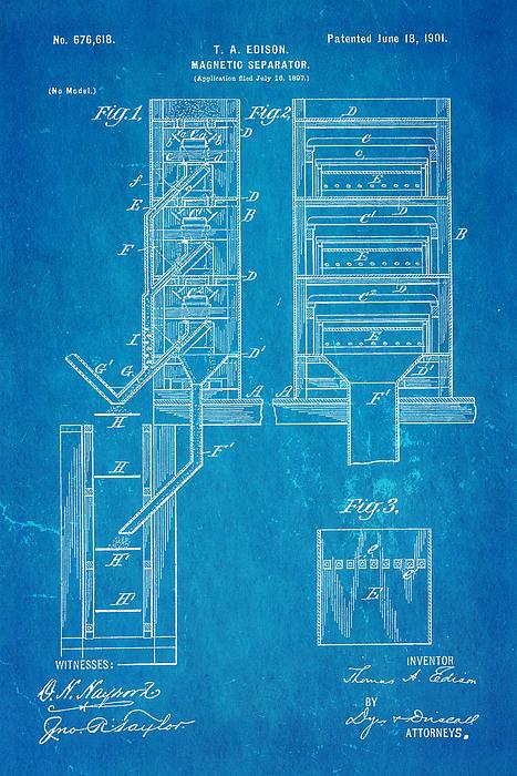 Edison Magnetic Separator Patent Art 1901 - Blueprint Print by Ian Monk