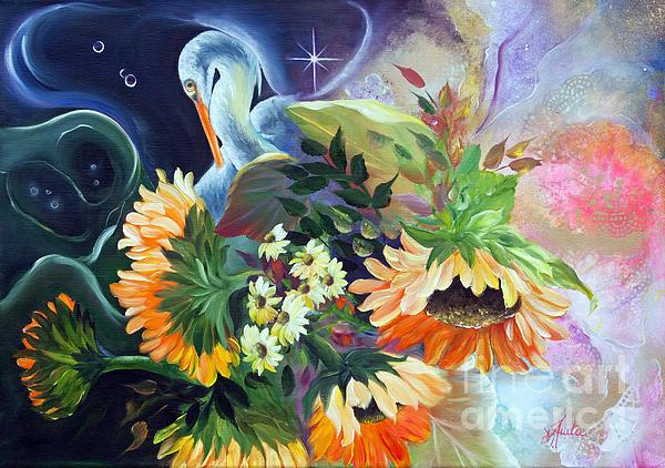 Ilona Anita Tigges - Goetze - Egret in the Sunflowers