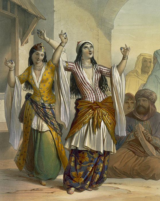 Egyptian Dancing Girls Performing Print by Emile Prisse d'Avennes