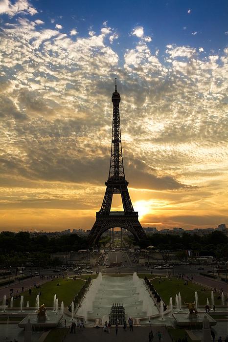 Eiffel Tower At Sunset Print by Debra and Dave Vanderlaan