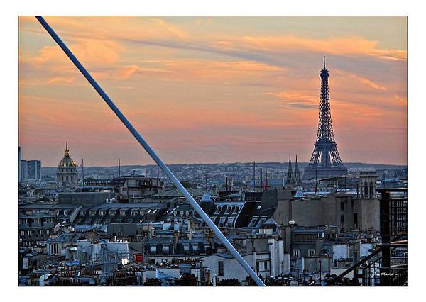 Eiffel Tower From Above Print by Joan  Minchak