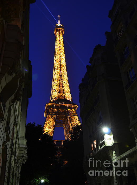 Eiffel Tower Paris France At Night Print by Patricia Awapara