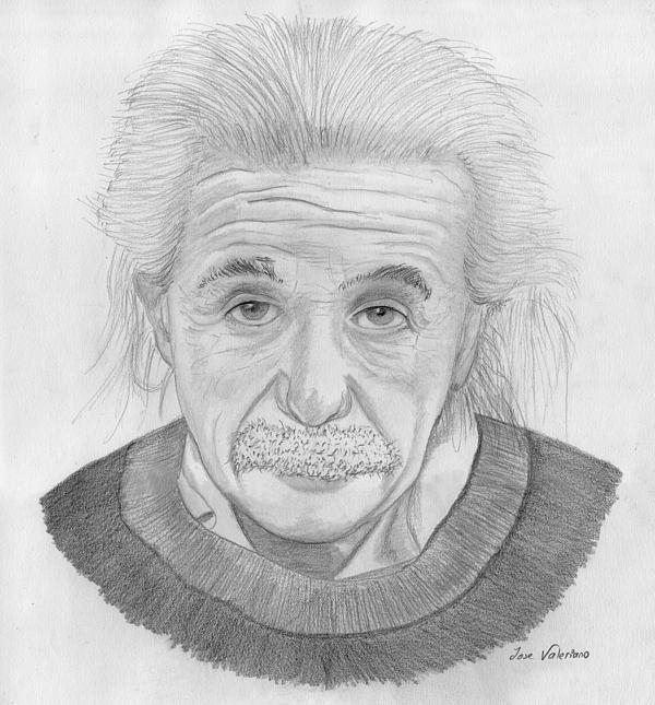 Einstein Portrait Print by Jose Valeriano