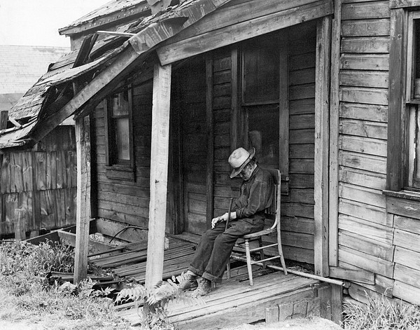 Elderly Man Doses On His Porch Print by Underwood Archives