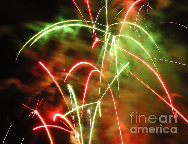 Electric City Fireworks Ix Print by Daniel Henning