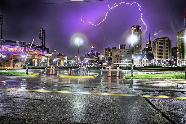 Electric Detroit  Print by Nicholas  Grunas