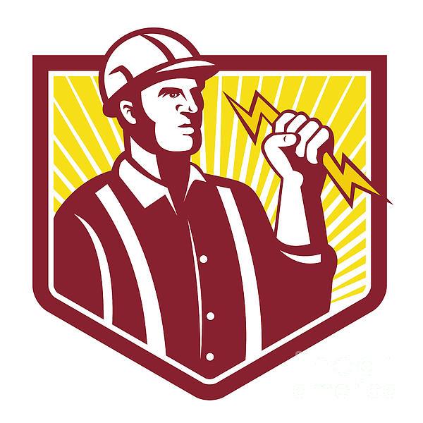 Electrician Holding Lightning Bolt Retro Print by Aloysius Patrimonio