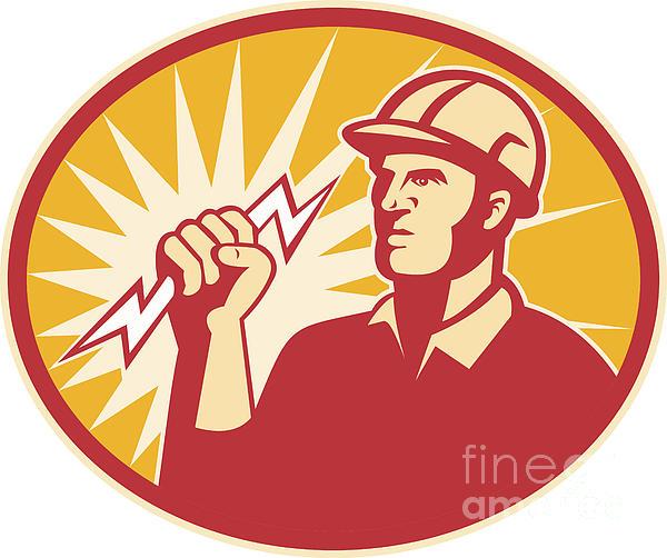 Electrician Power Line Worker Lightning Bolt Print by Aloysius Patrimonio