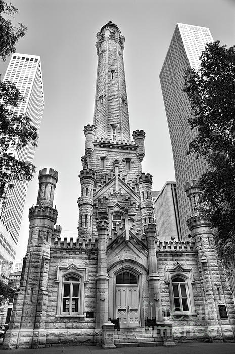 Elegant Old Water Tower In Black And White Print by Linda Matlow