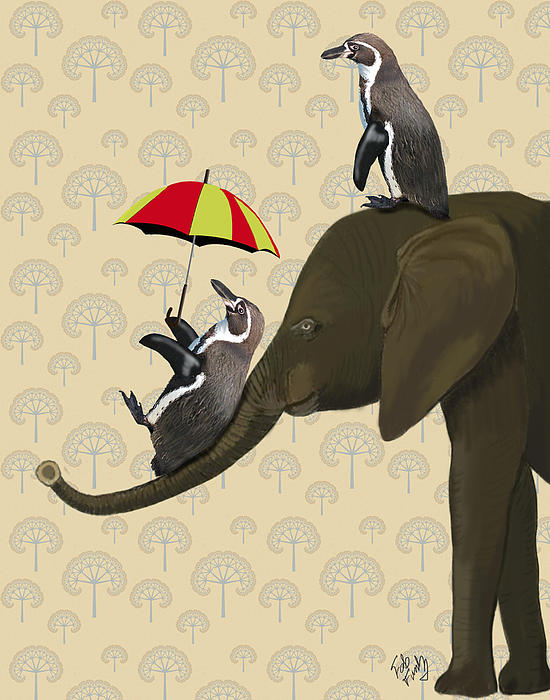Elephant And Penguins Print by Kelly McLaughlan