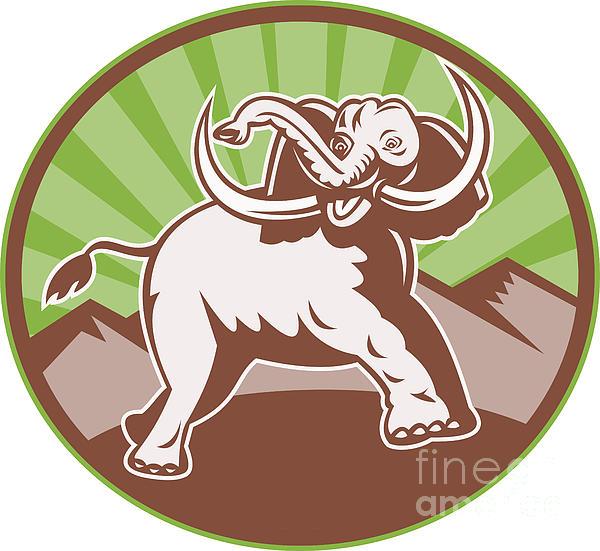 Elephant Giant Tusk Side Retro Circle Print by Aloysius Patrimonio