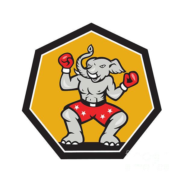Elephant Mascot Boxer Cartoon Print by Aloysius Patrimonio