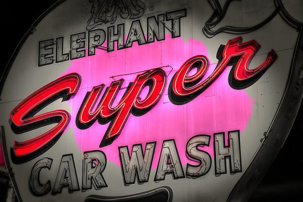 Pink Elephant Car Wash Print by Spencer McDonald