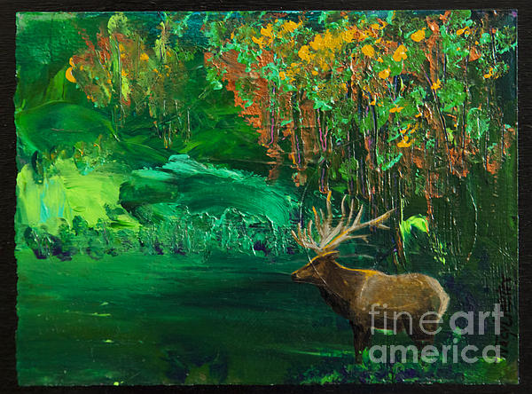 Elk Fall Print by Tracy L Teeter