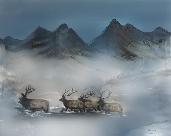 Carl Nobles - Elk Herd Misty Morning