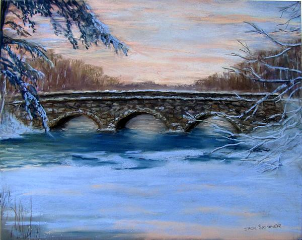 Elm Street Bridge On A Winter's Morn Print by Jack Skinner