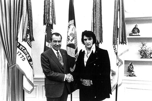 Elvis Presley And President Nixon Print by Retro Images Archive