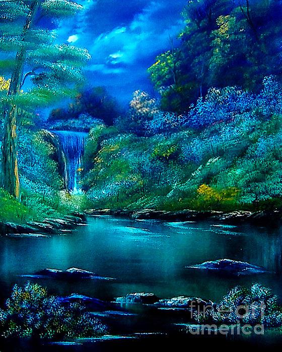 Emerald Falls 2 Print by Cynthia Adams