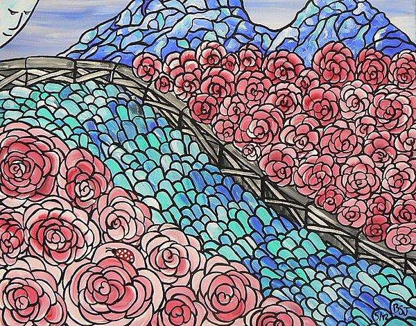 Emerald River Roses Print by Barbara St Jean