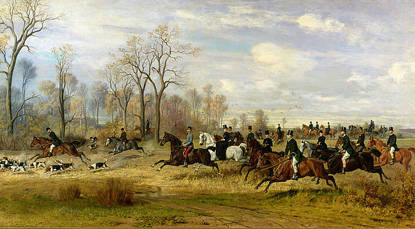 Emperor Franz Joseph I Of Austria Hunting To Hounds With The Countess Larisch In Silesia Print by Emil Adam