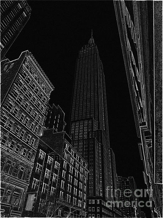 Empire Nyc White On Black Print by Meandering Photography