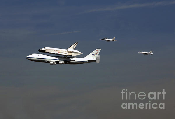 Endeavour Space Shuttle In La With Escort Fighter Jets  Print by Howard Koby