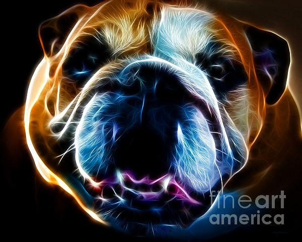 English Bulldog - Electric Print by Wingsdomain Art and Photography