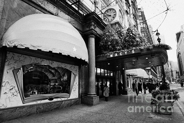 entrance to Macys department store on Broadway and 34th street at Herald square christmas Print by Joe Fox