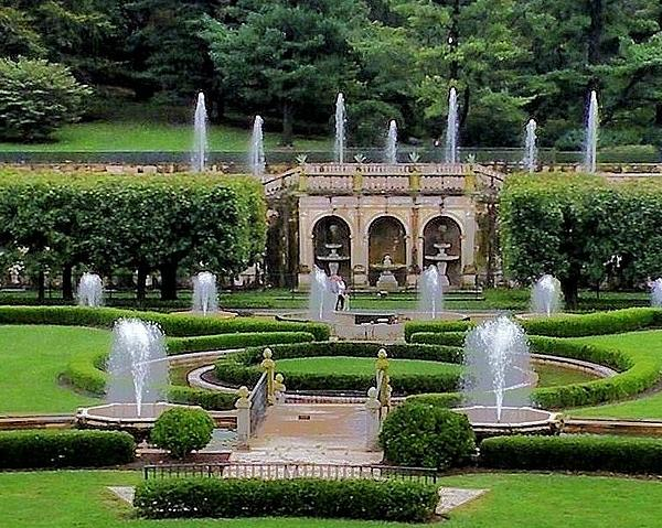 Entry Fountains At Longwood Gardens Print by Kim Bemis