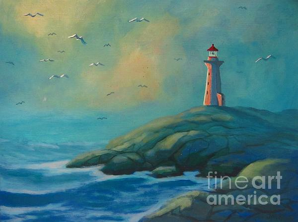 Envisioning Peggys Cove Lighthouse Print by John Malone