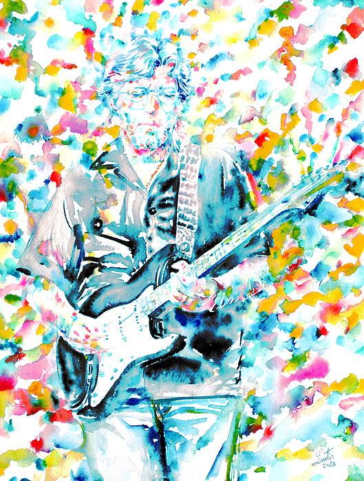 Eric Clapton - Watercolor Portrait Print by Fabrizio Cassetta