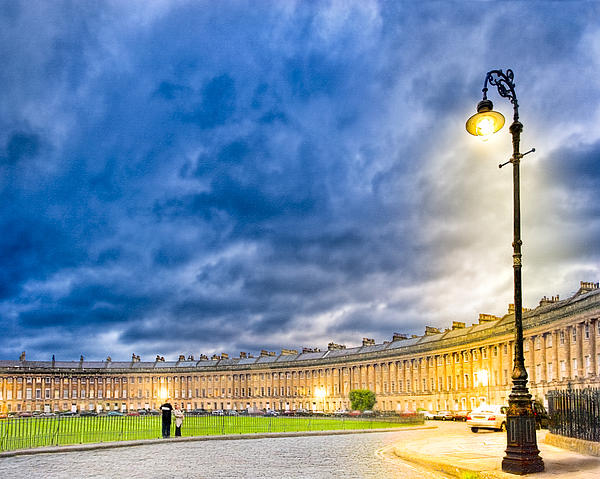 Evening On The Royal Crescent In Bath Print by Mark E Tisdale