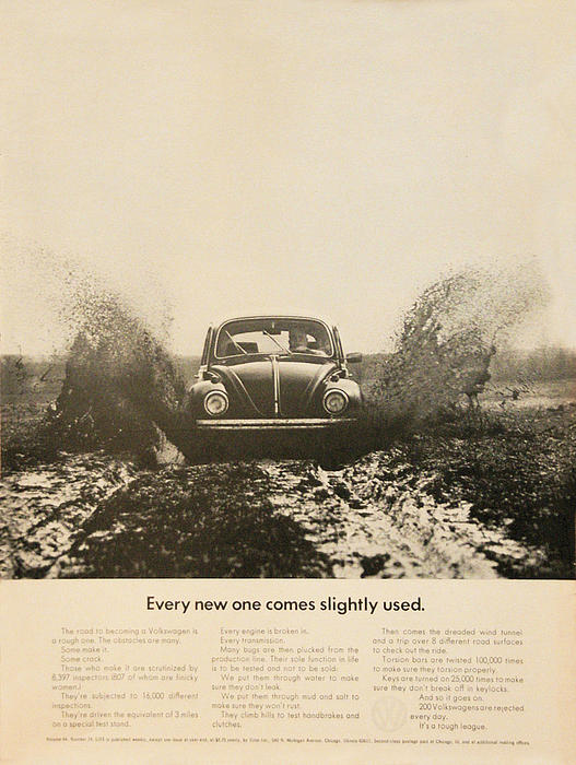 Every New One Comes Slightly Used - Vintage Volkswagen Advert Print by Nomad Art And  Design