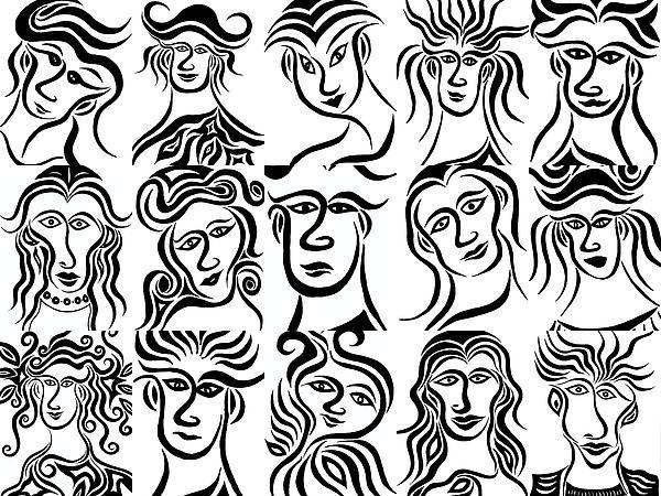 Face Dances Print by Beth Akerman