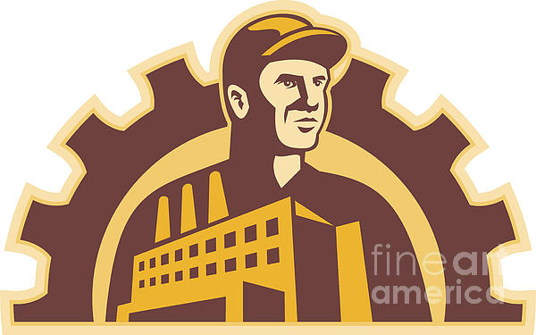 Factory Worker Building Gear Cog Retro Print by Aloysius Patrimonio