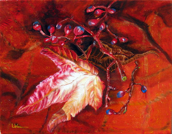 Fall Leaf And Berries Print by LaVonne Hand