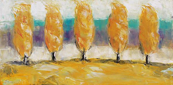 Fall Trees Print by Becky Kim