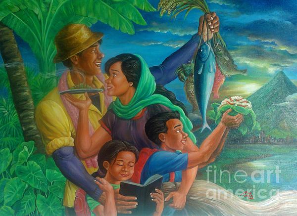 Family Bonding In Bicol Print by Manuel Cadag