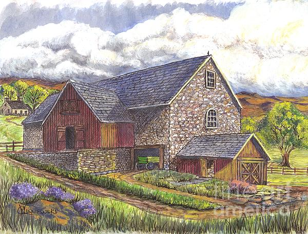 Carol Wisniewski - Family Farm pen ink wc
