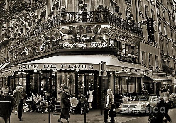 Famous Cafe De Flore - Paris Print by Carlos Alkmin