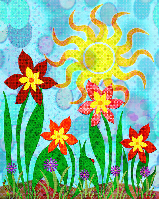 Fanciful Flowers Print by Shawna  Rowe
